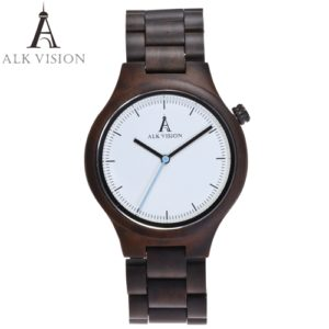 African ebony wooden mens watch