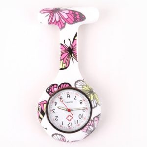 nurse watch silicone butterfly white
