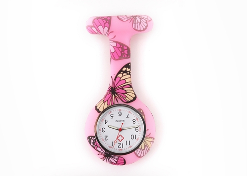 nurse watch silicone butterfly pink