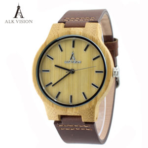 unisex bamboo wood watch leather